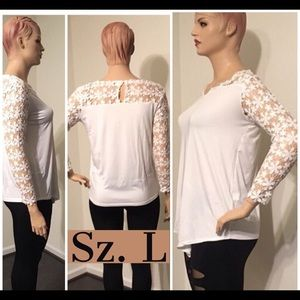 Tops - NWT White Yolk Lace Pullover Top